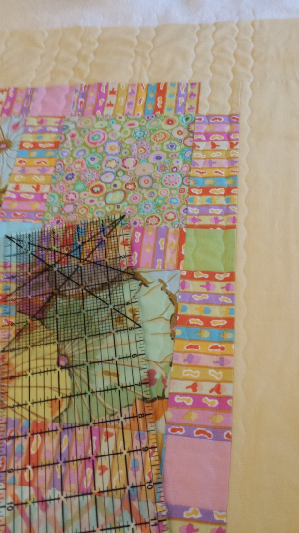 handmade yellow pink orange green baby quilt Kaffe Fassett fabrics