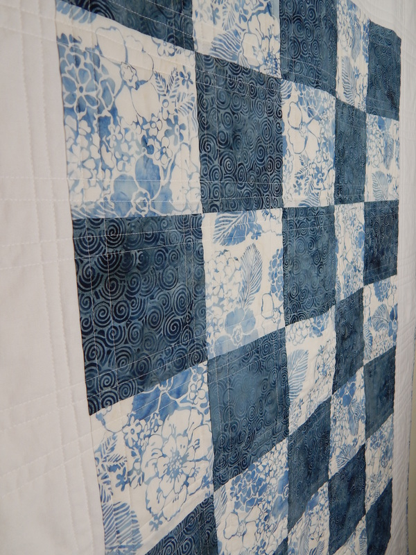 blue white baby quilt handmade North Carolina