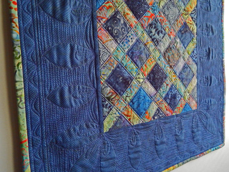 dark navy blue art quilt handmade