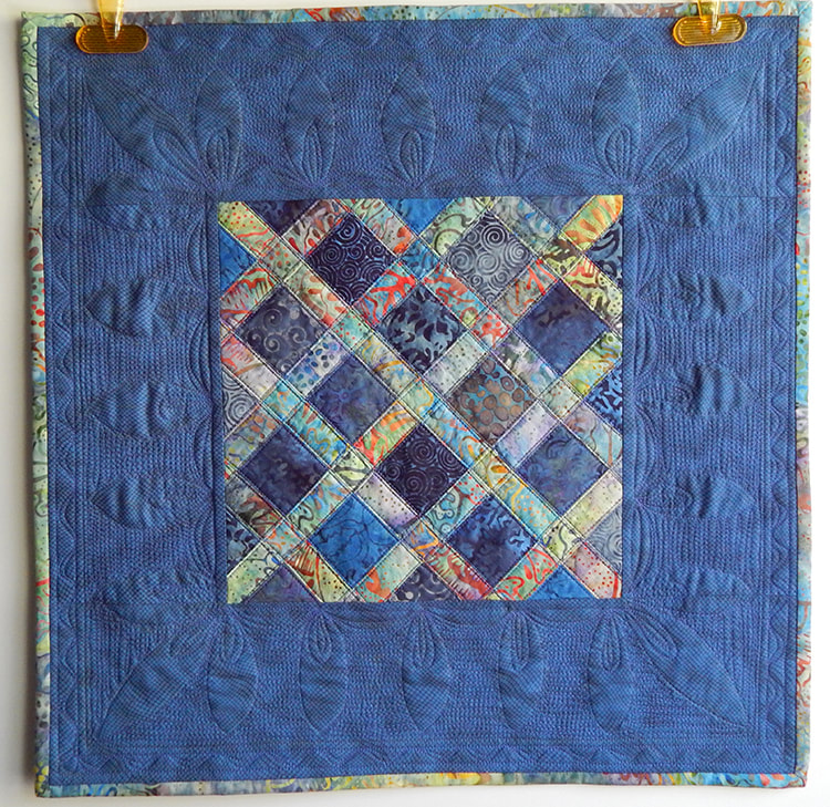 handmade blue art quilt small mini quilt