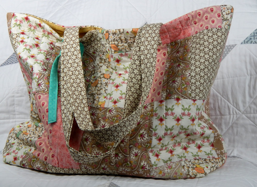 slouchy travel tote for women shabby chic tote bag quilted tote bag