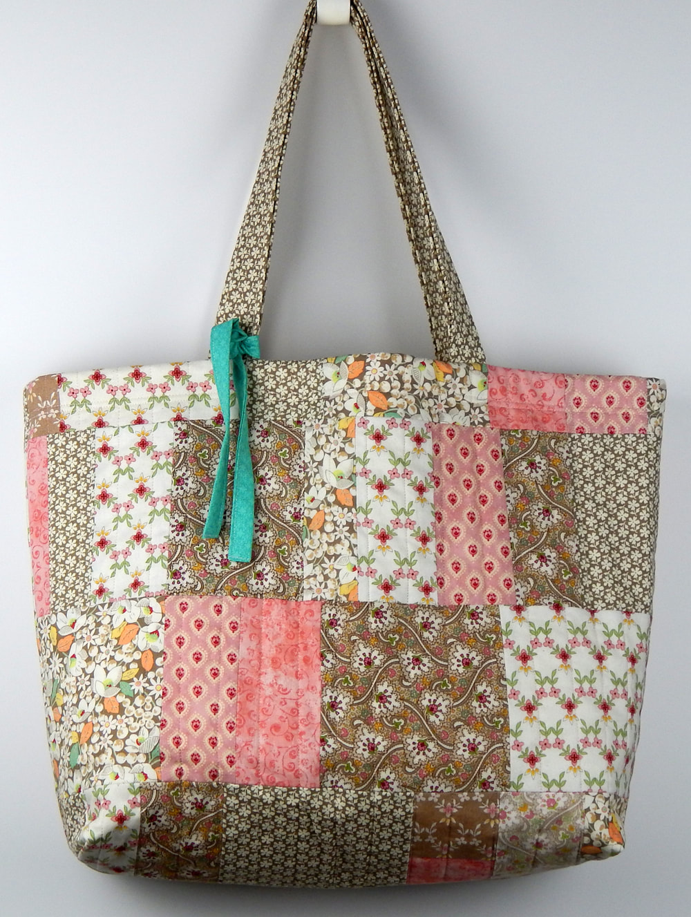 shabby chic quilted tote bag for women