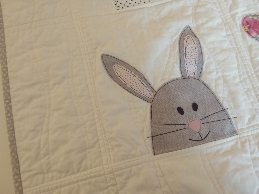 gray white baby quilt or baby blanket bunny quilt handmade